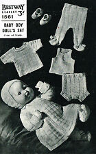 "Dolls clothes knitting pattern.16"" doll. Laminated copy. (V Doll 152)"