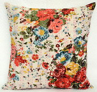 "White Indian Cushion Cover Kantha Stitch Cotton Pillow Case Floral Print 16"""