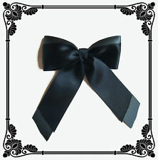 Broche noeud double fait main satin double face noir - gris foncé