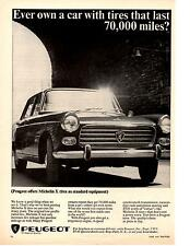 1965 PEUGEOT 404 / MICHELIN TIRES  ~  CLASSIC ORIGINAL PRINT AD