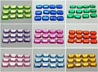 100 Flatback Acrylic Square Sewing Rhinestone Beads 10X14mm Pick Your Colour