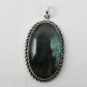 """925 Sterling Silver Labradorite Pendant Necklace with 18"""" Chain Women PWC-1063"""