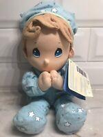 Precious Moments Prayer Pal Boy Pajamas Blue Recites Bedtime Prayer Retired NEW