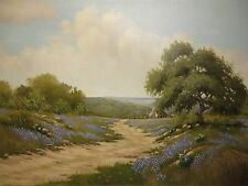 "24x36 org. oil painting on canvas by Robert Reece ""Tx. Bluebonnet Hill Country"""