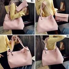Womens 2pcs/set Ladies PU Leather Tote Shoulder Handbag Purse Shopper Clutch Bag