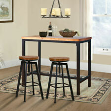 Sello Products Industrial 3/5pc Pub Wood Stool Chair Table - Coffee
