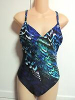 NWT Gottex Poetic Wing One Piece Swimsuit Multi Blue Peacock Feather Women's 8 M