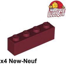 Lego - 4x Brique Brick 1x4 rouge foncé/dark red 3010 NEUF