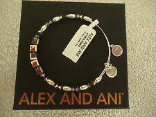 Alex and Ani CROWN SWAROVSKI Shiny Silver Beaded Bangle New W/Tag Card & Box
