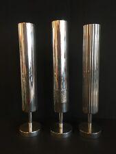 More details for three vintage modernist silver plated single stem bud vases m&r england mcm