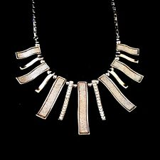 Silver Plated Bib Necklace With Pave and Rhinestones Rectangular Strands Pendant