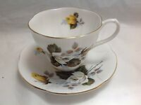 BONE CHINA CUP & SAUCER BY ROYAL ALBERT SHELLEY SHAPE WHITE YELLOW ROSES