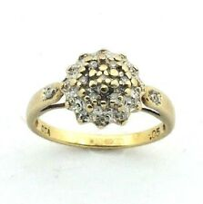 Ladies/womens, 9ct/9carat gold ring set with a diamond cluster, UK size K