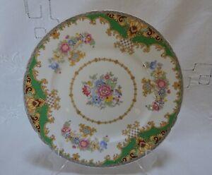 "Shelley Fine Bone China ""Green Sheraton"" Scalloped 8"" Salad Plate - #13290 c1950"