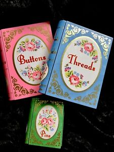 Cath Kidston Set Of Tins With Roses Pink Blue Green Threads Buttons Pins Lovely