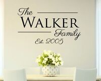 Personalized Custom Family Name Vinyl Wall Decal Home Decor Sticker Year Date