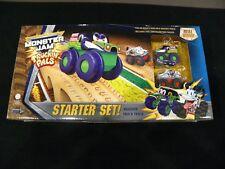 2018 Monster Jam Truckin Pals 15 Pc Starter Set Wooden Track Grave Digger Mutt