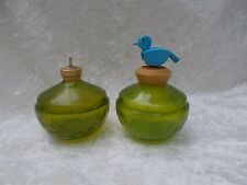 Pair of Vintage Green Glass Perfume Bottles with Bird Top