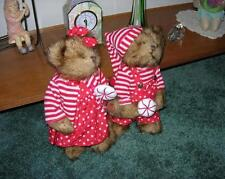 TWO 13 INCH TALL CHRISTMAS CANDY CANE BEARS ~NEW