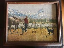 Unusual Vintage Western Cowboy Needlpoint Horse Dogs Prairie Snow Capped Mounts