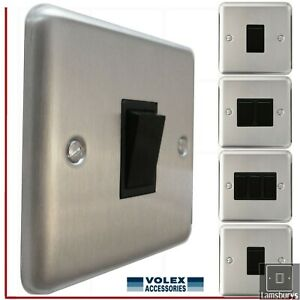 Volex  Brushed Stainless Steel Light Switches with Black Insert Round Edge