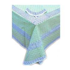 Tiger Reserve Block Printed Linens-Tablecloth & 6 Napkins Green Body Blue Border