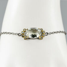 10ct+ Natural Green Amethyst 925 Sterling Silver Bracelet Inches 7.5/BR03371