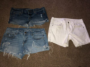 Lot/3 American Eagle Distressed Shorts Size 12 Denim And White