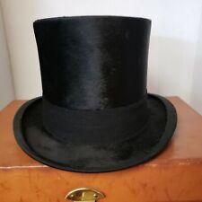 1927 Silk Plush Top Hat 7 1/4 E W Clothing House Illinois Iowa Traveling Case
