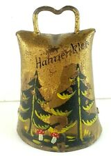 Hanenklee Metal Bell Ringing Rattle Style Hand Painted Mushroom Forest Trees Old
