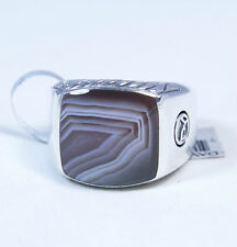 David Yurman Men's Classic Signet Ring Botswana Agate Silver Size 10 $650 NWT