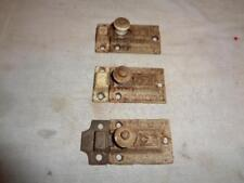 Antique LOT of 3 Victorian Matching Cast Iron Cabinet Door Spring Latch & Keeper