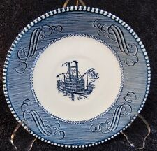 """Currier Ives Royal China Blue and White Riverboat Saucer """"Low Water"""" MINT!"""
