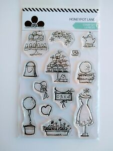 Craftwork Cards Stamp Set - Honeypot Lane - 13 Stamps - Cakes, Flowers, Clothes