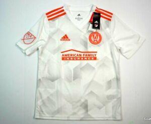 Boys Large White Orange Adidas Climacool Authentic Atlanta United MLS Jersey