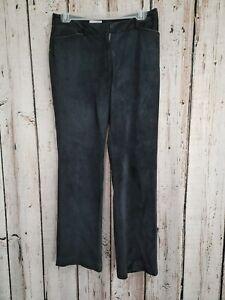CS Women's Size 6P 6 Petite LOFT Ann Taylor Black Suede Leather Dress Pants EUC
