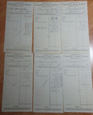 LOT OF 6 1929 DEPOSIT SLIPS FROM CAMPBELL & FETTER BANKERS KENDALLVILLE INDIANA