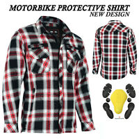 Mens New Motorbike Casual Check Shirt Motorcycle Lumberjack CE Armour Jacket UK