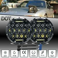 Pair 7 inch Round LED Headlight Halo Projector DRL For 1990-1997 Mazda Miata MX5