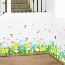 Baseboard Green Grass Flowers Waterproof Removable Art Vinyl Wall Stickers Decor