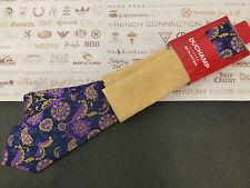 DUCHAMP Silk Tie Hankie Set Floral Navy Long Tie & Yellow P.Square BNWT RRP£90