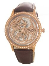 Kenneth Cole Ladies Gold Skeleton Dial Brown Leather Band Watch 10018836