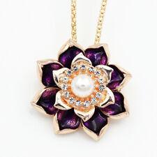 Betsey Johnson Purple Enamel Crystal Lotus Flower Pendant Necklace/Brooch Pin