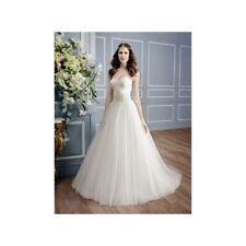 Moonlight Bridal Gown PB6452 Applique Bodice Lace Wedding Dress Ivory Size 16