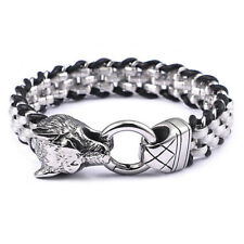Stainless Steel Silver Wolf Rolo Chain Biker Jewelry Men's Leather Bracelet 8.5""