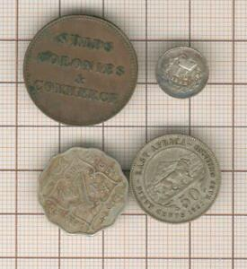 canada ships and colonies token + 3 halfpence  silver 1843 + 50c 1922 esat afr