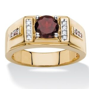 925 Sterling Silver Natural Garnet & White Top Ring Men's Jewelery Us Size 7 8 9