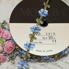1y MOKUBA BLUE OMBRE ROCOCO ROSETTE RIBBON VTG FRENCH DOLL DRESS TRIM ANTQ WORK