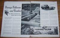 1941 World War II Goodyear Double Page Advertisement Barrage Balloons and Bomber