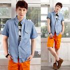 Luxury Casual Short Sleeve Dress T Shirts Jean Slim Fit Denim Shirt Tops New.
